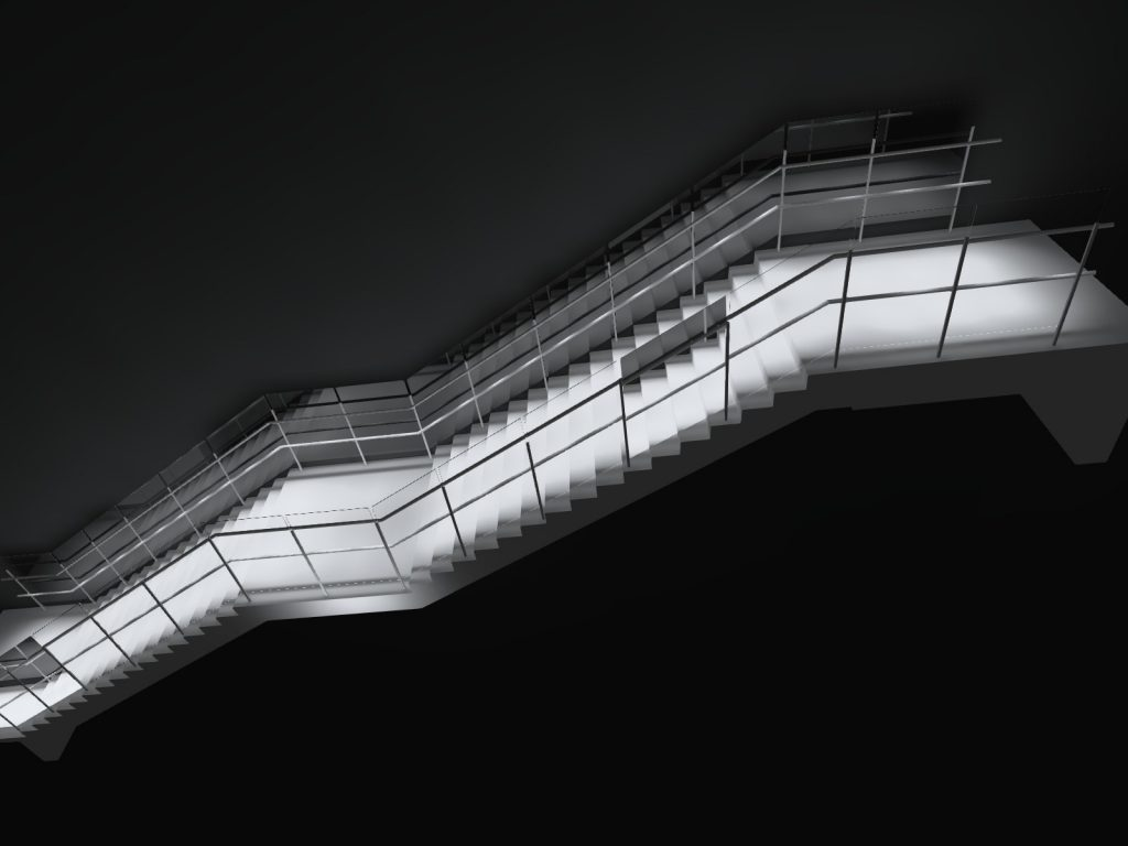 Illuminated handrail planning stair simulation