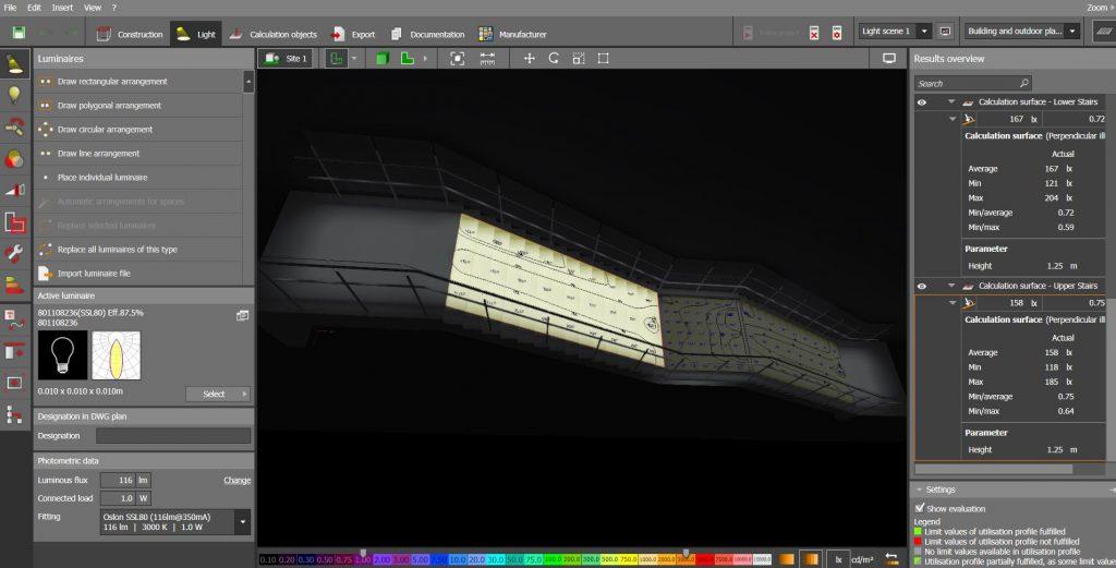 Illuminated handrail planning Dialux screenshot